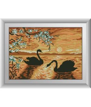 Вечір на озері (лебеді)